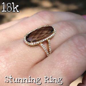 18k Gold Smokey Quartz & Pave Diamond Pretty Ring